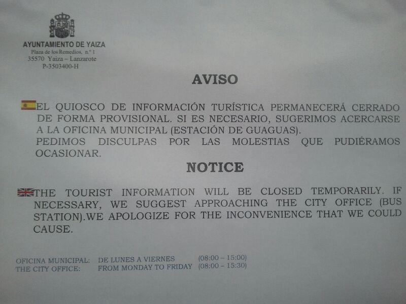 Cc denuncia que la oficina de turismo de playa blanca for Oficina turismo lanzarote